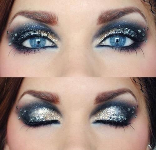 Gorgeous sparkly frozen like eye makeup