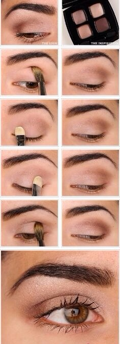 The palate displayed here is an optimal example of the shades needed to create a perfect smokey eye!!  This tutorial is super easy to make: 1- Flush the lid with a creamy/light pink shade. 2- Use a slightly darker shade on the middle of the lid and on the crease.