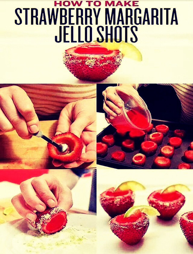 Watch us make Strawberry Margarita Jello Shots: http://youtu.be/ziHCAvMsfRs  STRAWBERRY MARGARITA JELLO SHOTS 1 Cup Water Box of Strawberries Packet of Strawberry Jello 3/4 Cup Tequila 1/4 Cup Triple Sec