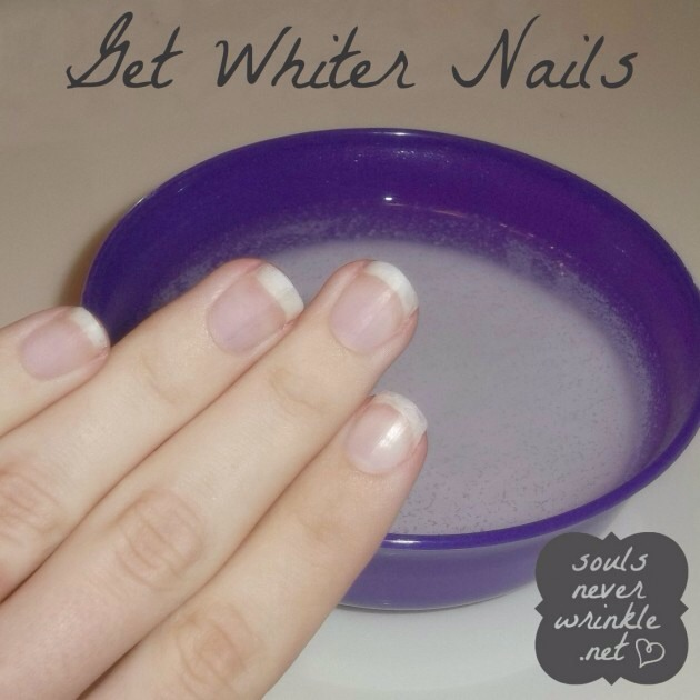 For whiter nails, mix hot water, baking soda and hydrogen peroxide and soak for one minute