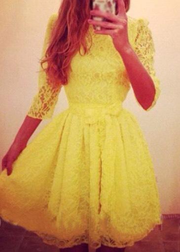 $22.21 http://m.rotita.com/bow-embellished-yellow-lace-skater-dress-g124555.html