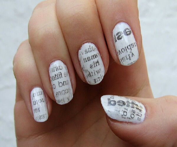 news paper nails! news paper contains formaldehyde a toxic chemical. Any contact should be avoided.