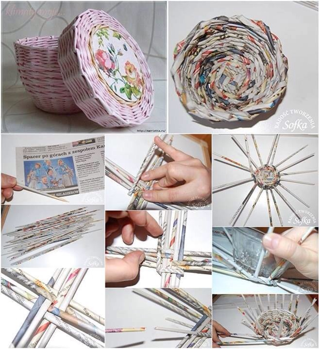 Use tightly rolled bits of newspaper, weave them around a bowl, then paint and varnish, it looks like a woven basket :)