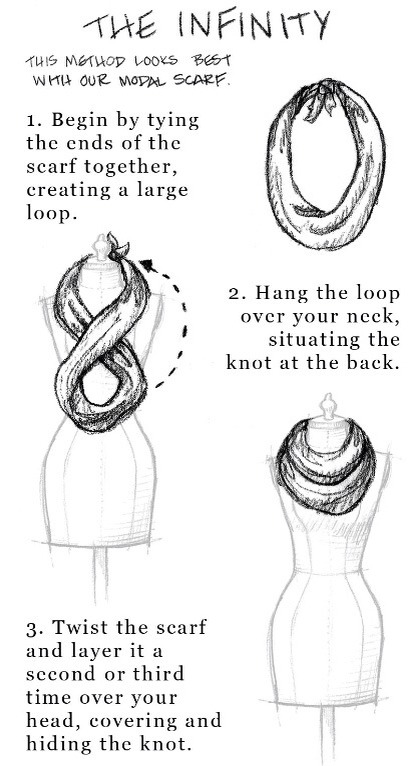 Don't have an infinity scarf? Easily create your own with a regular scarf.