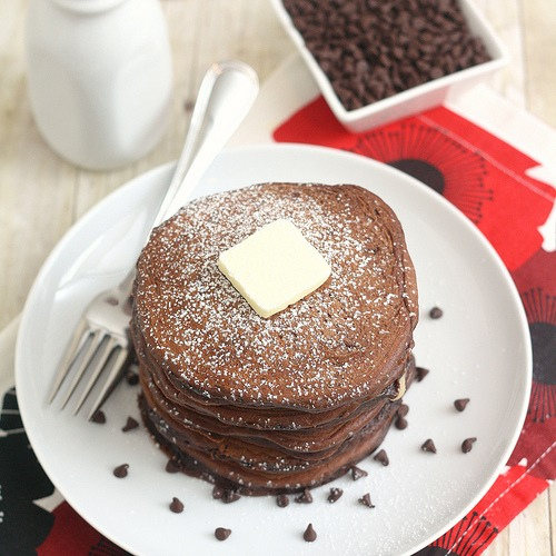 Chocolate Pancakes 1 1/3 cups all purpose flour 1/3 cup plus 1 tbsp cocoa powder 6 tbsp granulated sugar 1 1/2 tsp baking powder 1/4 tsp baking soda 3/4 tsp salt 2 large eggs, at room temperature 3 tbsp unsalted butter,melted &cooled 3/4 cup whole milk,at room temperature