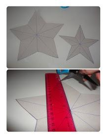 Next you need to draw a line from the middle of each tip of each star across to the other side as show in the above photo. Open your scissor out and use the pointed end to score along the lines you have just drawn on.