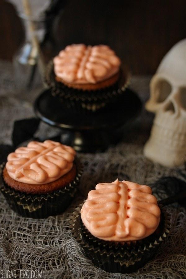 Recipe: http://www.sugarhero.com/brain-cupcakes/