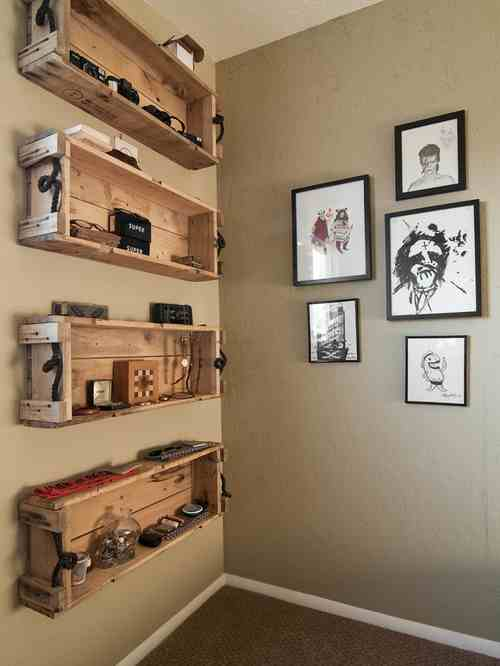 Make some shelves out of wood pallets for a cabin feel and organizing space.