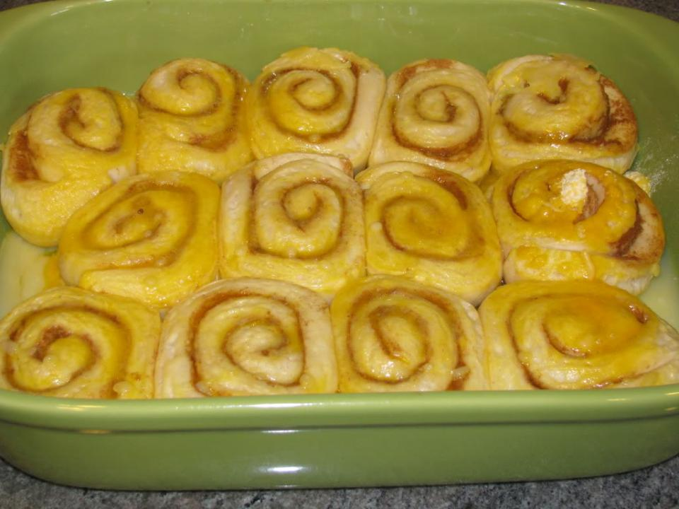 In the morning, remove the thawed rolls and let set on counter for 30-45 minutes until doubled in volume.
