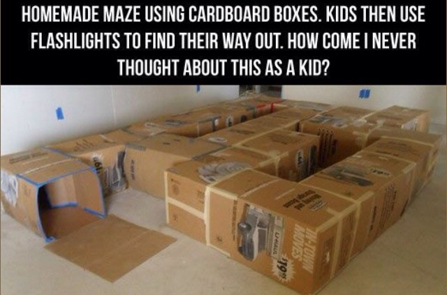 Use boxes to create a fun maze for the kids to crawl around in!