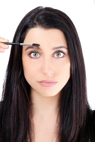 STEP 3  Brush brows up with a spoolie brush(or a clean mascara applicator) this helps you to see the shape you like and see where they are uneven.