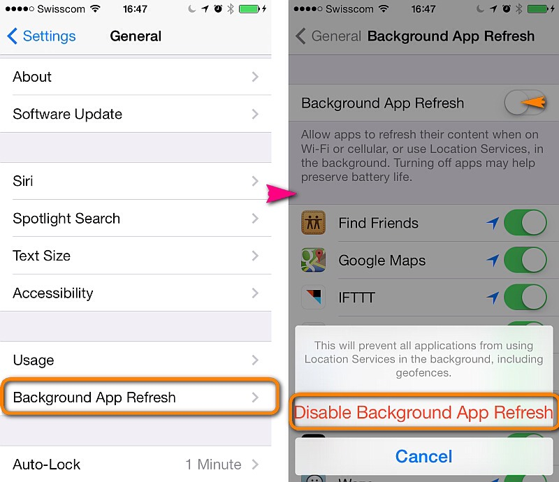 Shut off background app refresh! It drains your battery by refreshing apps every second.