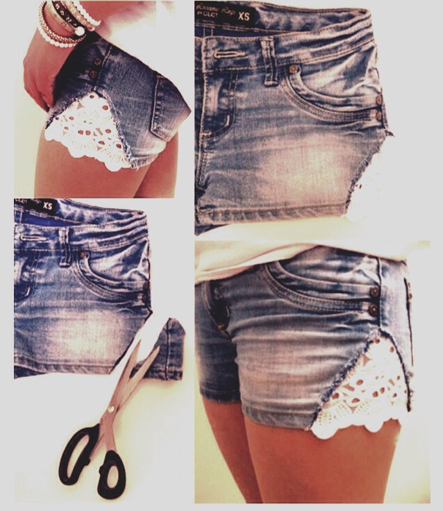 Take an old pair of shorts that are to tight around the thigh area and cut diagonal on the bottom sides. cut a piece of lace a little larger then the triangle you just cut, then glue on the lace using fabric glue * hold down the lace to ensure it holds*  and there you go your very own lace shorts!