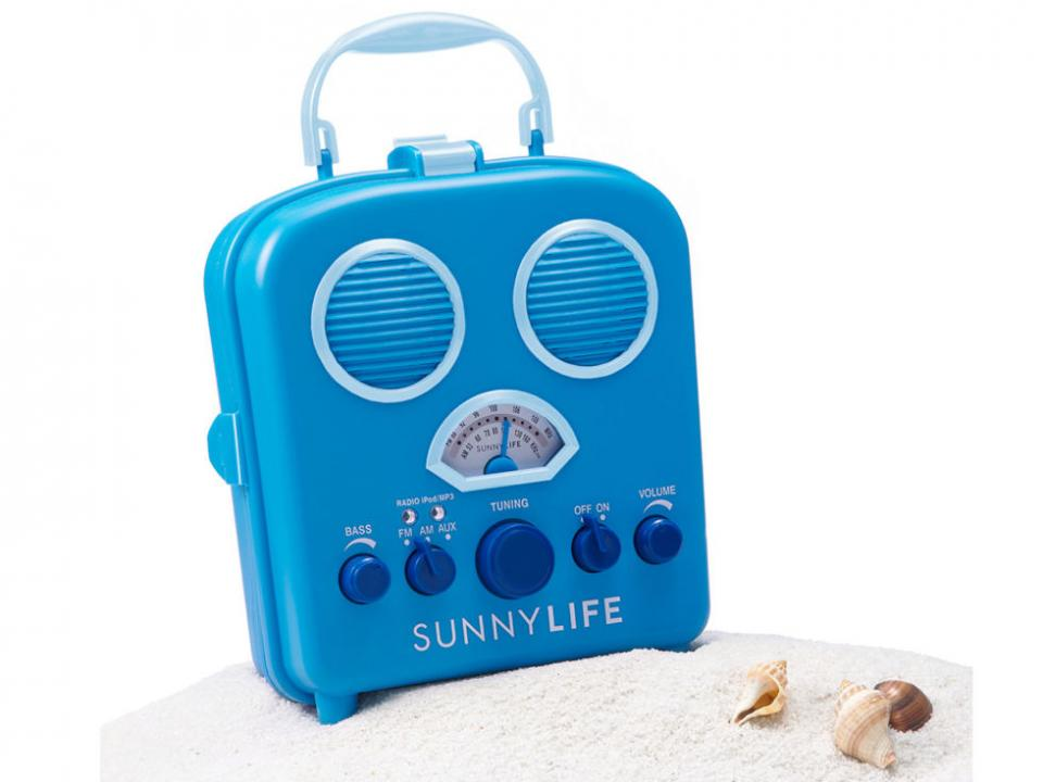 Waterproof Speakers Bring some tunes to the beach with this cute, water-resistant speaker set. It looks like a retro radio, but secretly stores your MP3 player or smartphone inside, keeping your playlist protected from the sun and splashing.
