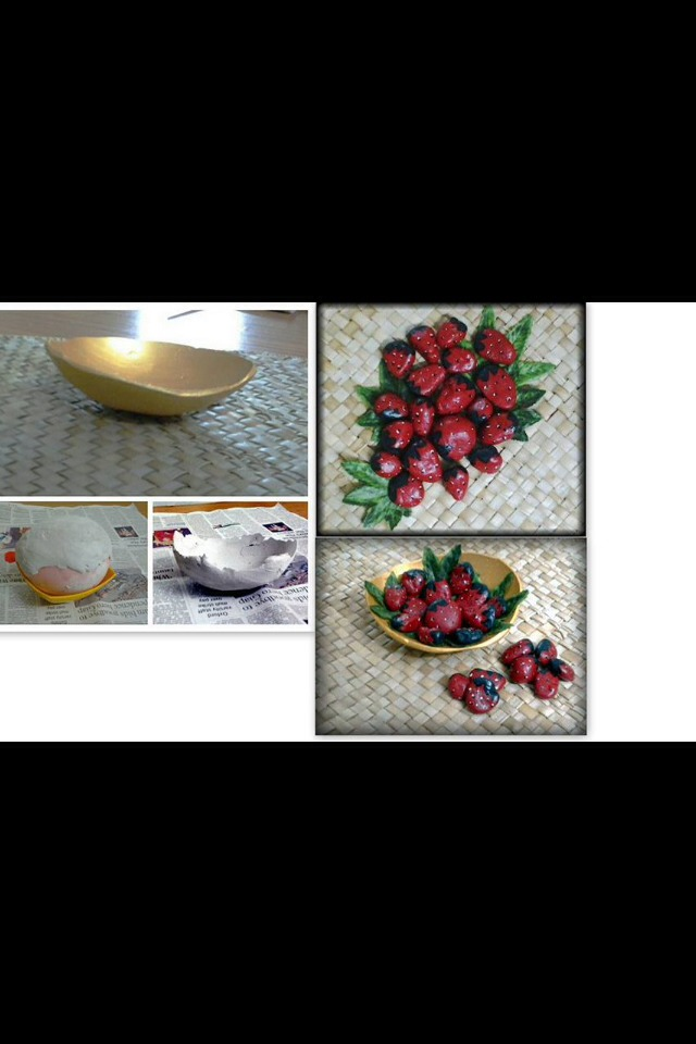 Base is made from plaster of Paris and stones are paint into strawberries