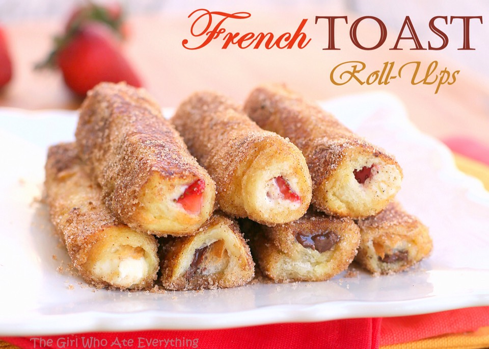 These French Toast Roll-Ups have cream cheese, fruit, or whatever fillings you like rolled up in cinnamon sugar bread. Impressive and crowd pleasing!