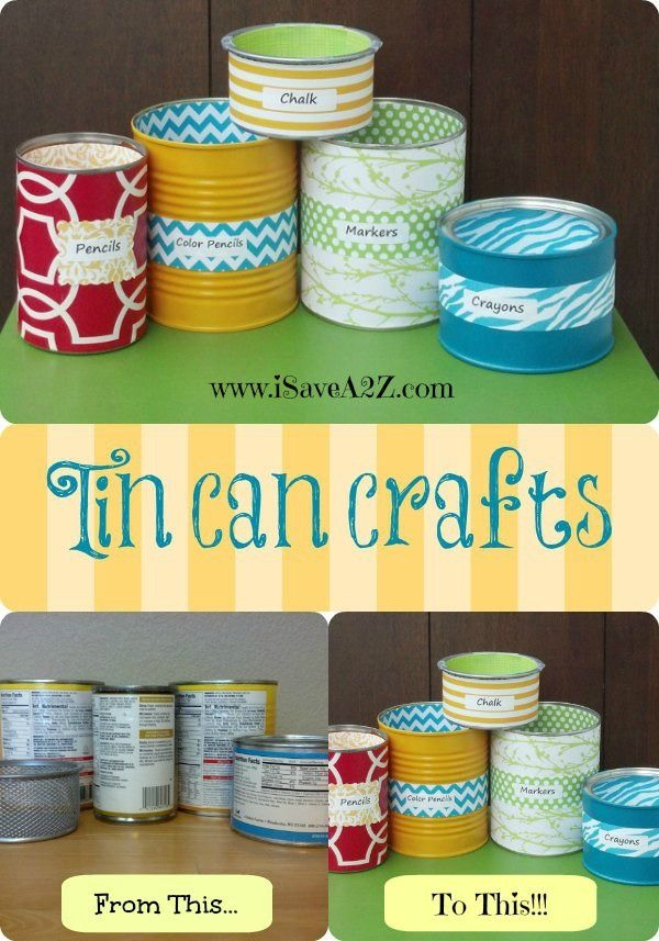 Use old cans to organize!!