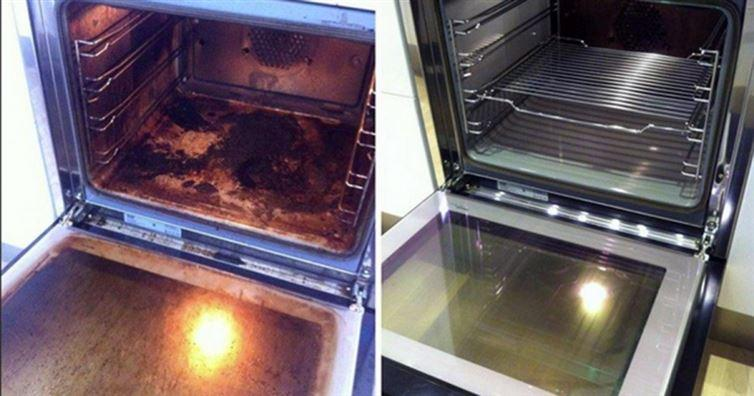 Oven:make a paste using water and baking soda and spread it all around the inside of your oven. Let it sit overnight, then take a wet rag to wipe out as much of the baking soda mixture as possible. Next, spray some vinegar on the inside of your oven and wipe down with a wet rag. Then turn your oven