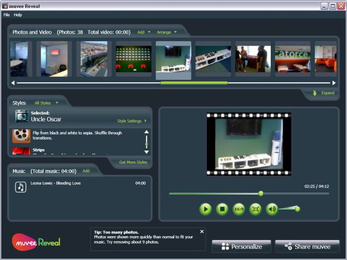 Muvee Reveal is a very easy to use software that allows you to creat your own videos in a creative way.