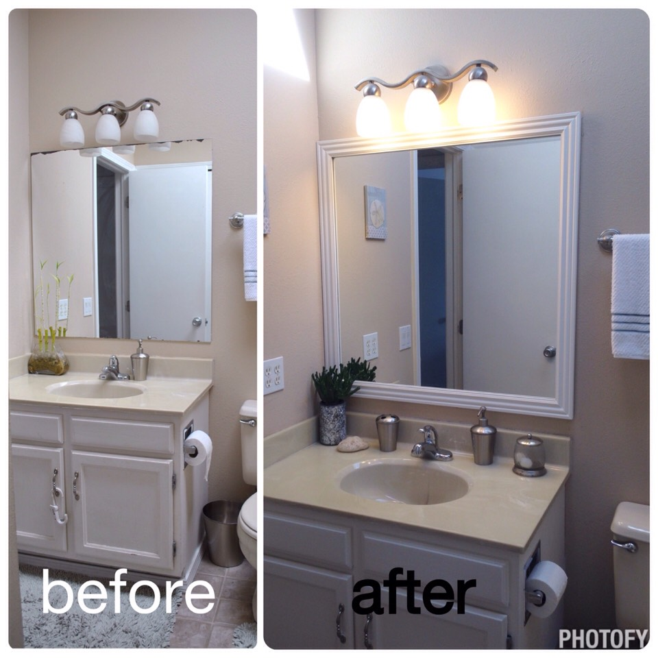 Frame out an outdated, damaged mirror. Instant upgrade! Easy!! And Cheap!!!