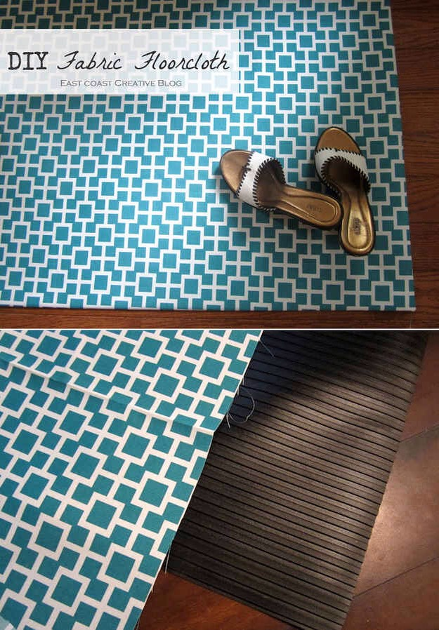 30. Similarly, you can do the same thing to an ugly rubber mat using spray adhesive. No-sew fabric projects make you secretly feel like you're cheating. Get the step-by-step here. http://www.iammommahearmeroar.net/2012/06/diy-fabric-floorcloth.html?m=1