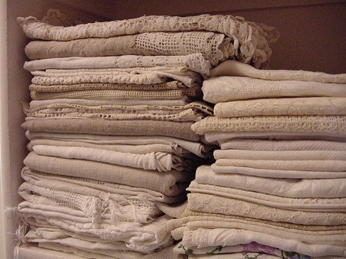 "Old linens. You know the ones; drabby, stained, ripped etc. The list goes on and on. Don't keep them around because of the age old question ""what if?"""