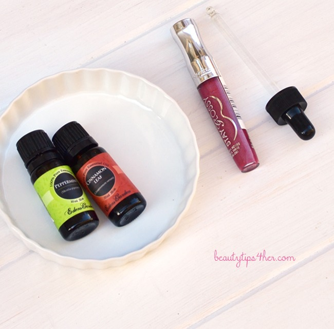 You'll need: Cinnamon or Peppermint Essential Oil Lip Gloss
