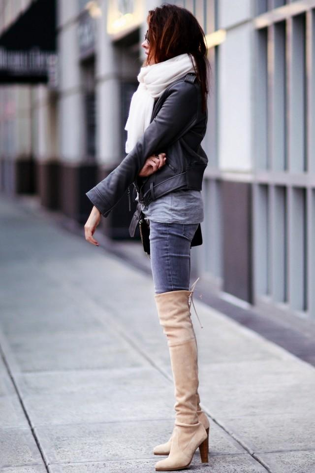 You can never go wrong when you pair boots with jeans. Thigh highs add a little edginess to any outfit.