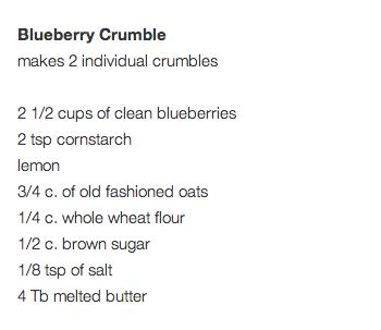 Entire recipe here - http://littleredwindow.com/2013/07/blueberry-crumble-a-recipe-in-instagrams.html