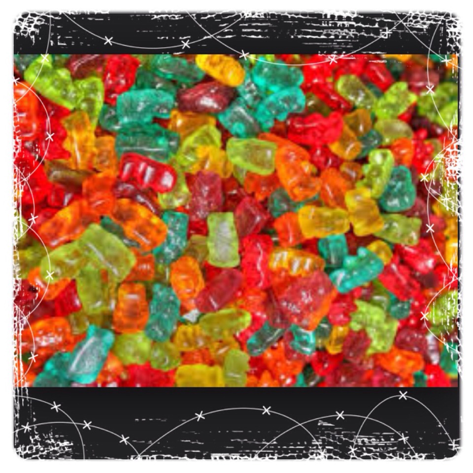 Then take your gummy bears and put them in the mold as well