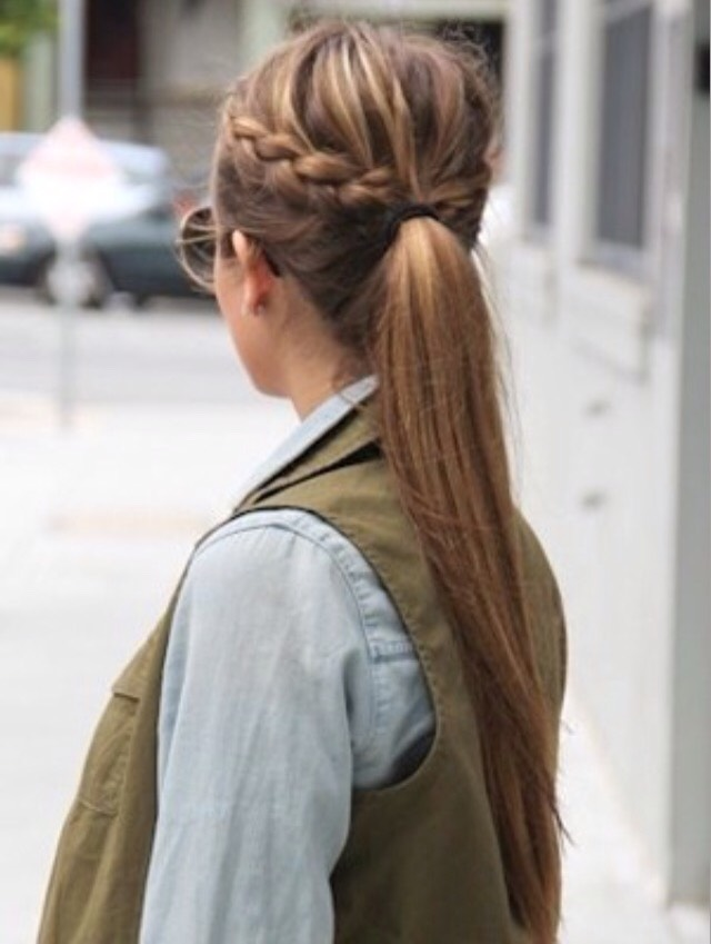 Double French braid into pony tail  • Take a small section from one side of your head and French braid it until you reach the back. Repeat with the other side and put the 2 braids and rest of your hair into a ponytail