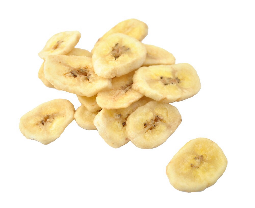 DIY banana chips :) -slice whole banana - dip in lemon juice  -bake at 250 until golden brown