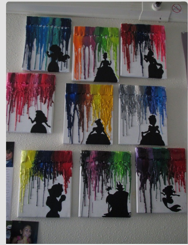 Buy a blank canvas put on black cut out of princes. Then drip crayon colors.