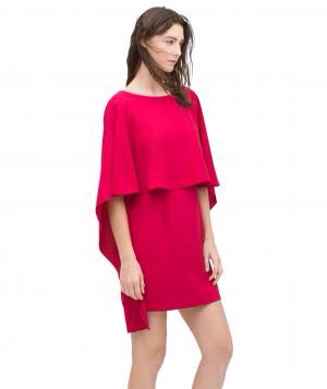 Zara Cape Dress With Low Back. This eye-catching fuchsia style is well suited for a late-summer or evening fete. The dramatic boat neckline and cape-style sleeves provide coverage without being restrictive. A bejeweled bib necklace or drop earrings make a lovely complement.  To buy: $100, Zara.com