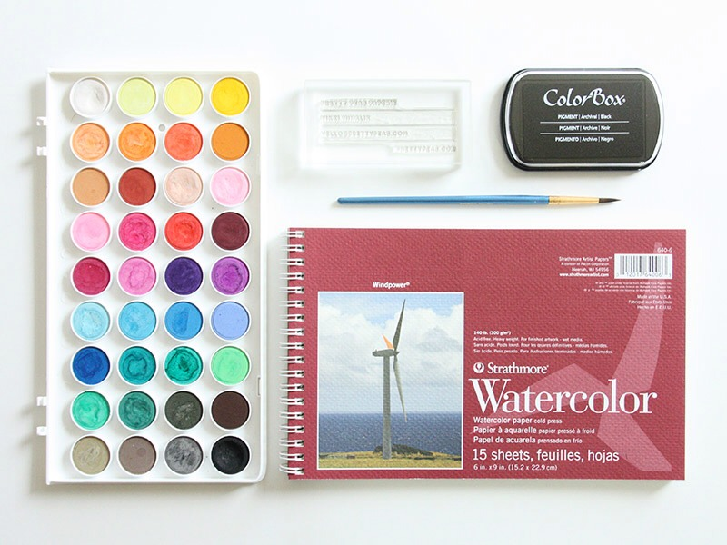 What You Need: • A 4″ x 2″ clear custom stamp OR you can print off card details onto card (eg: business name) •Water-colour paper trimmed down to 4″ x 2″ •A pigment ink stamp pad •Watercolor paints