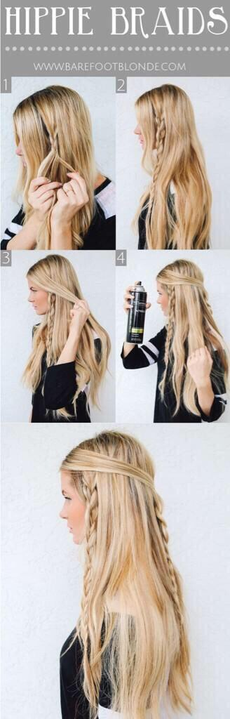 1) Braid random pieces of hair 2) Take the front section of hair and pull it around to the other side and bobby pin in place  3) Spray your hair so it stays in place