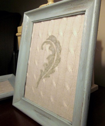 Make wall art! Stretch an interesting pattern etc over canvas and frame!