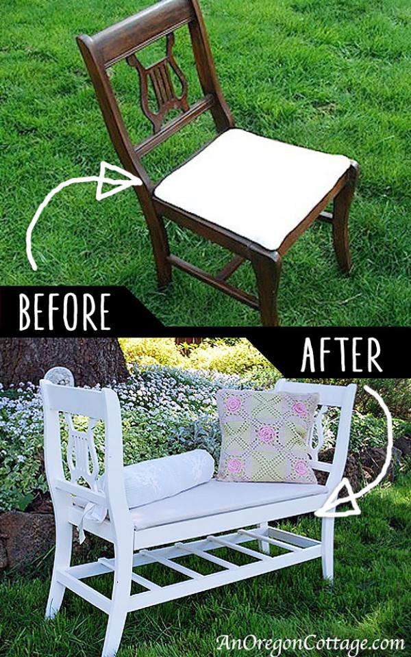 French Style Bench From Old Chairs  http://anoregoncottage.com/make-french-styled-bench-from-old-chairs/