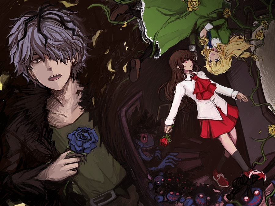 Ib (left to right: Garry, Ib-in red, Mary-in green) ((not an anime but is a great RPG))