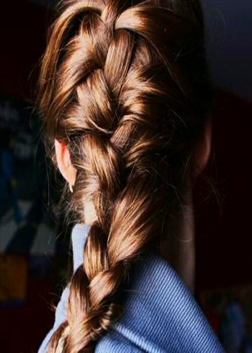 I recommend french braiding your hair, but you can do whatever. First you get your hair damp, (I do it after showers) and then you grab a hair tie and braid your hair.