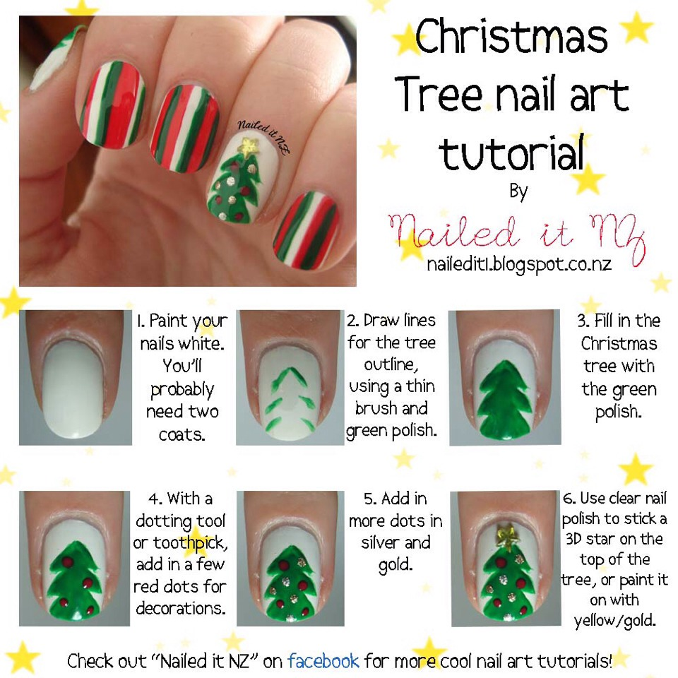 As for nails ... A good way to go is with striped colors and a Christmas tree💕 CLICK FOR FULL PICTURE