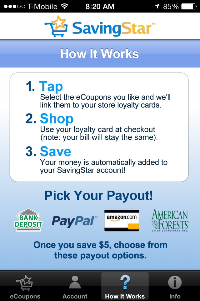 Here's their help screen. Your discount card number tracks it back to your account. I find payouts from CVS purchases to usually be 7 days or less and Kroger to be about 22 days. After you accumulate $5 you can cash out to paypal.