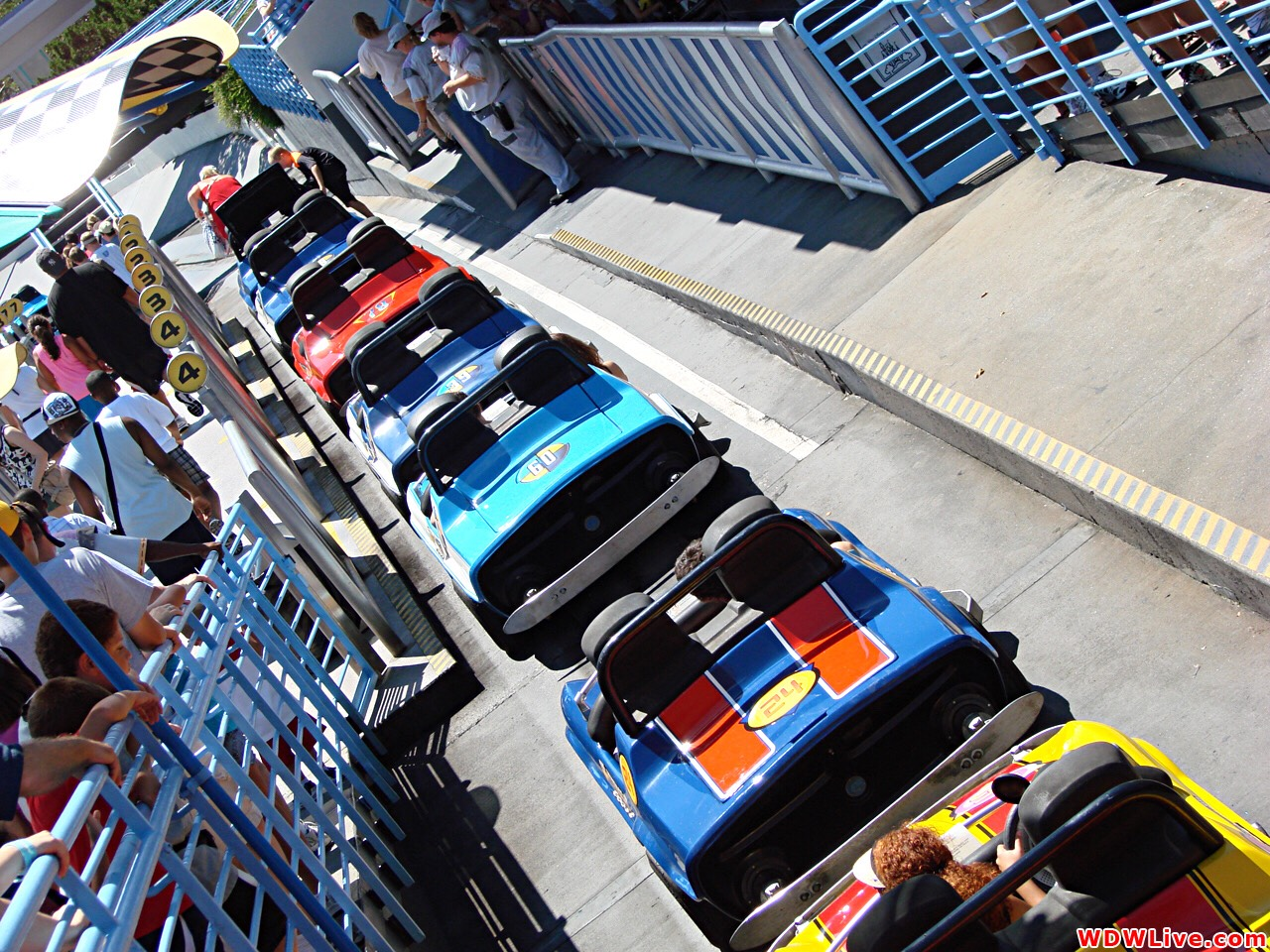 Tomorrowland Speedway Take the wheel of a gas-powered car and speed through a winding track to Victory Circle.  Height: 32in or taller FP+: Yes