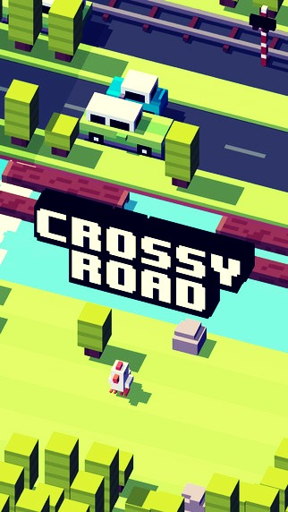 Crossy Road; tap and swipe to move your animal character, avoid being hit by cars and trucks while trying not to fall into the water.