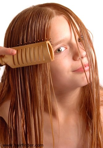 Tip 2: DO NOT brush hair when it's wet. When you do you can break your hair and damage it .