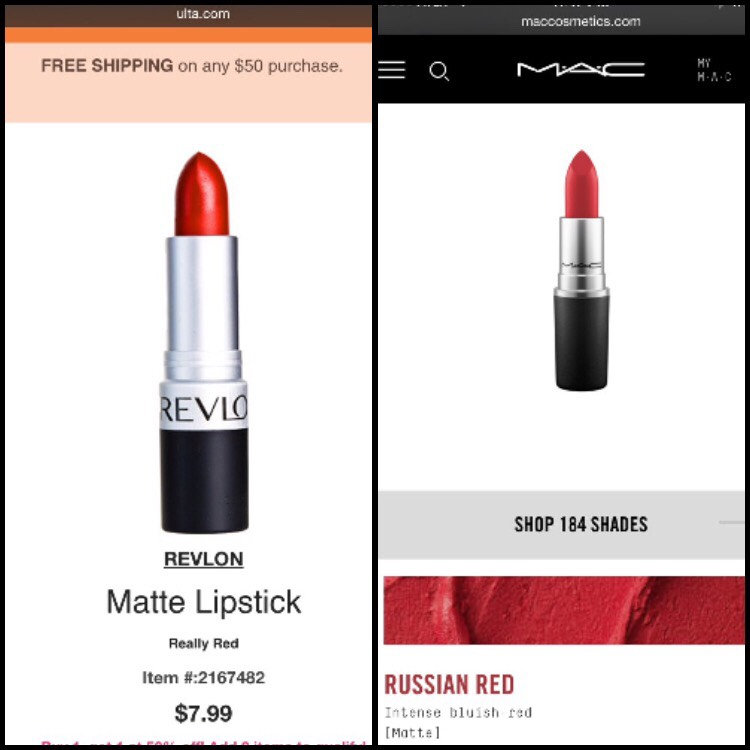 MAC Russian Red $16 Revlon Really Red $8