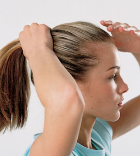 5. Put hair up in a ponytail or clip for 1 or 2 hours.