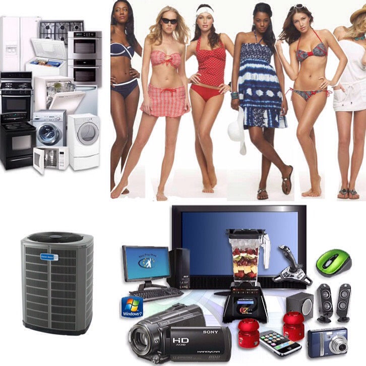 July- swimwear, electronics, major appliances, summer clothing, and air conditioners