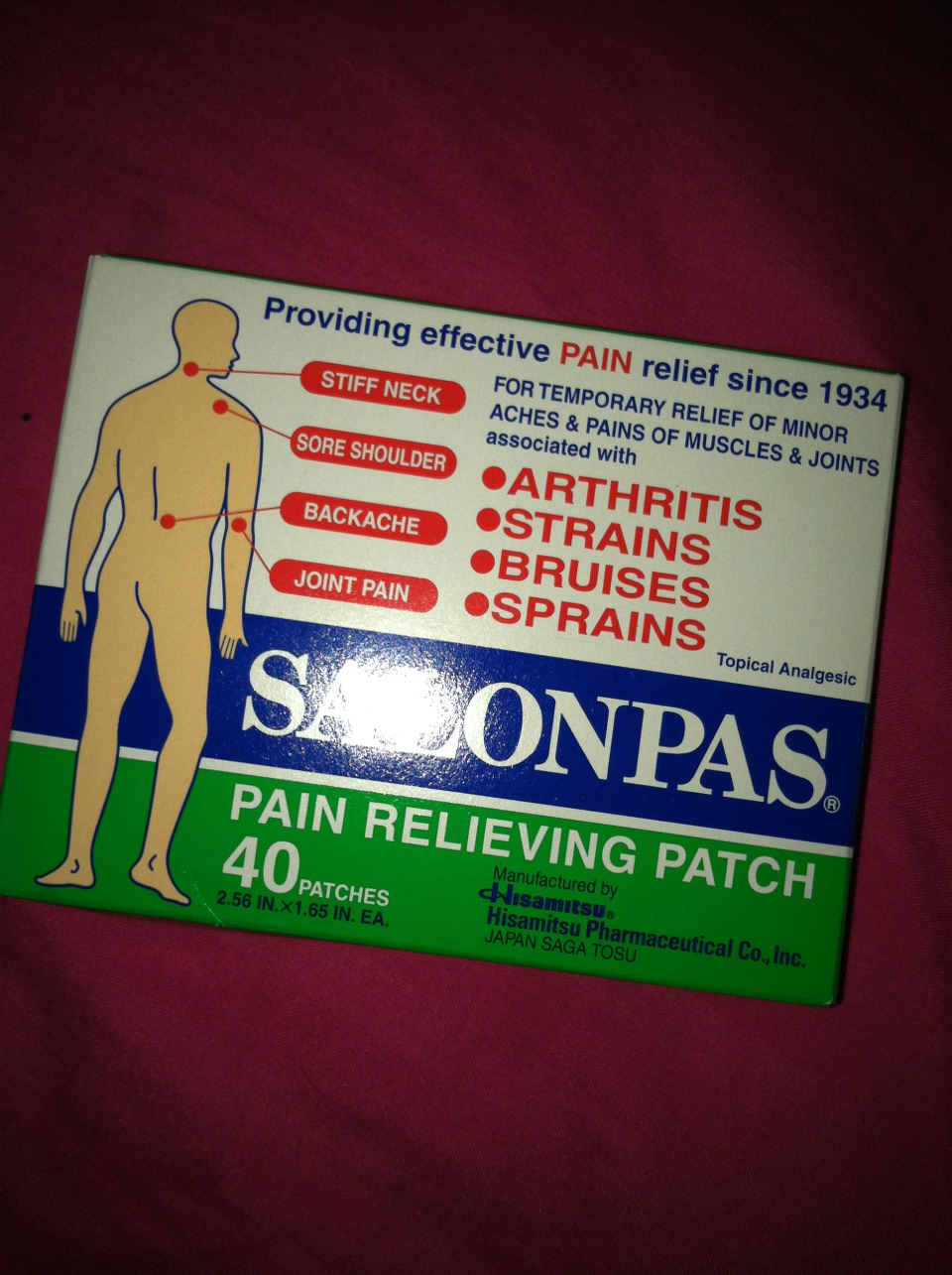 If you have back pain or cramp apply the patch right on the area that is hurting it works like wonder! Great for healing bruises, & sprains. Not just what I had used it for, but also great for headache/coughing too. Apply a small patch on your neck or your forehead it will sooth your needs.