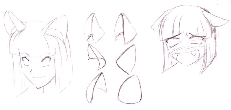 If you want her to have cat ears, these are ways that you could draw them.